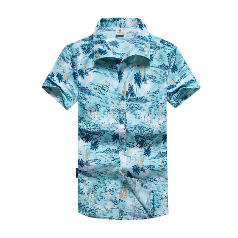 Men Shirt Summer Style Palm Tree Print Beach Hawaiian Shirt Men Casual Short Sleeve Hawaii Shirt Chemise Homme Asian Size 5XL