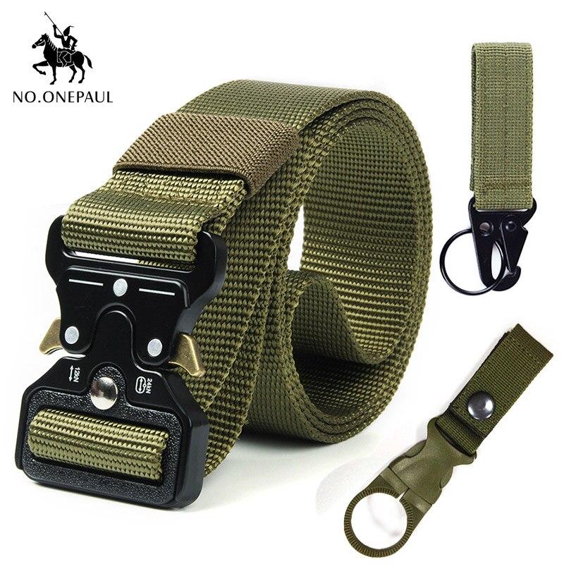 NO. ONEPAUL тактический ремень военный высококачественный нейлоновый мужской тренировочный с металлической многофункциональной пряжкой для занятий спортом на открытом воздухе Новинка - Цвет: kk Package 1-2 green