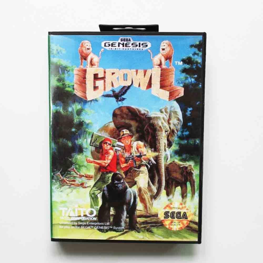 Growl Game Cartridge 16 bit MD Game Card With Retail Box For Sega Mega Drive For Genesis