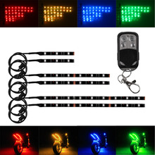 12 В 6 ШТ. RGB 5050SMD СВЕТОДИОДНЫХ Автомобилей Мотоцикл Glow Огни Гибкий Неон Полосы Комплект Chopper Кадр С Пульта дистанционного управления Многоцветный
