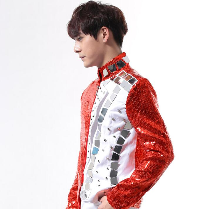 Fashion men suits designs lens rivets homme terno stage costumes for singers men red sequin blazer dance clothes jacket punk in Blazers from Men 39 s Clothing