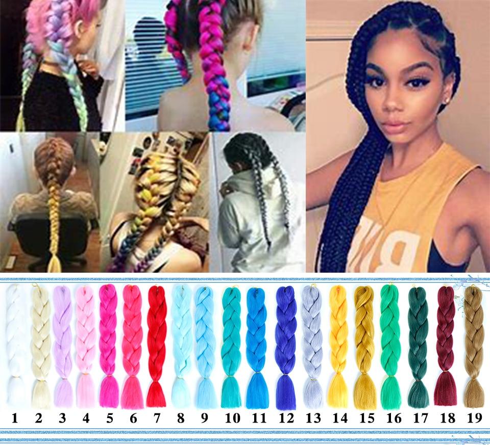 Humor Mstn 1pcs 24 100g/pcs Ombre Two Tone Kanekalon Jumbo Braiding Crochet Box Braid Hair Synthetic Hair For Braids Headwear Women's Hair Accessories