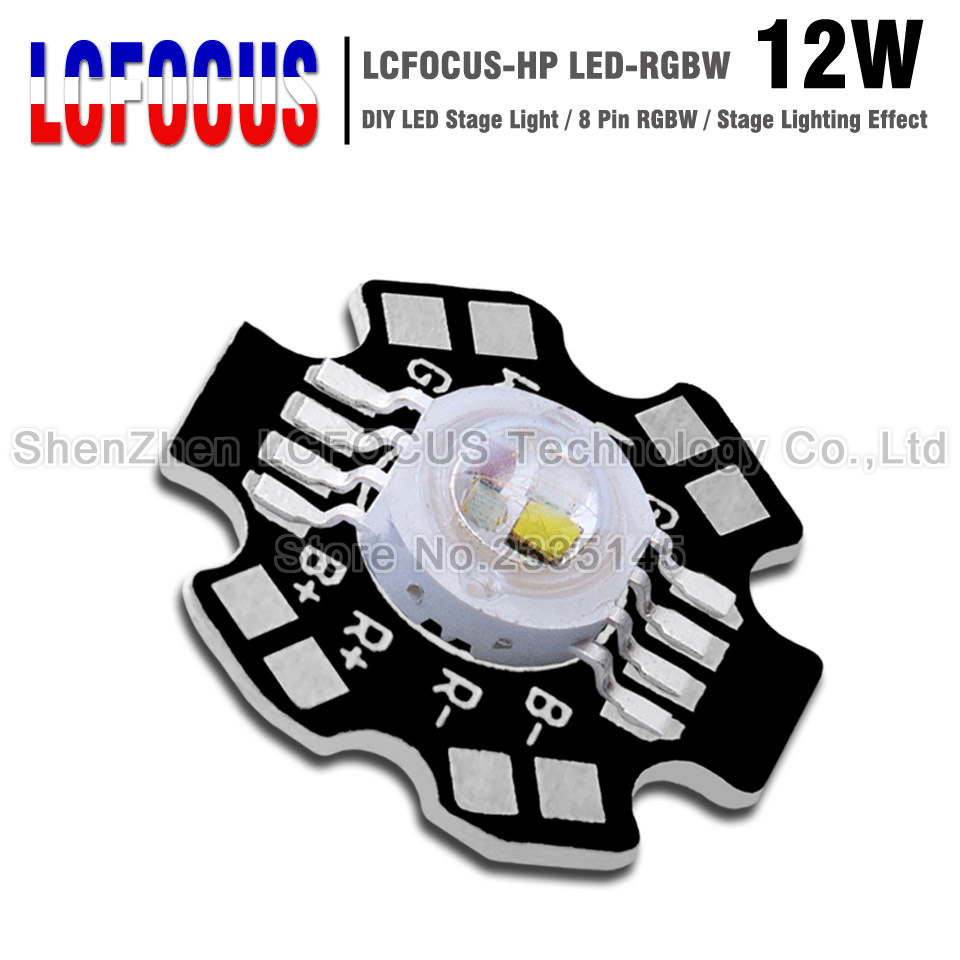12W RGBW LED Chip COB SMD With PCB 3W 45Mil 8 Pin Red Green Blue White Full Color DIY LED Stage Dj Dmx Light Lamp Bar