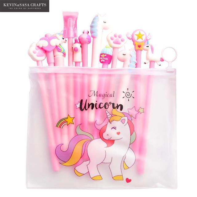 10Pcs/Set Gel Pen Unicorn Pen Stationery Kawaii School Supplies Gel Ink Pen School Stationery Office Suppliers Pen Kids Gifts 1