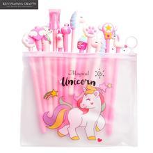 10 unids/set Gel Pen unicornio pluma papelería Kawaii escuela Gel pluma de tinta Escuela de papelería oficina proveedores Pen regalos de los niños