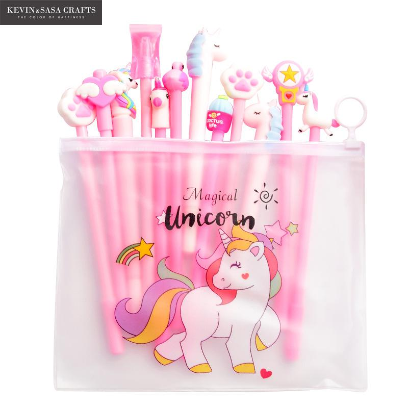 10Pcs/Set Gel Pen Unicorn Pen Stationery Kawaii School Supplies Gel Ink Pen School Stationery Office Suppliers Pen Kids Gifts(China)