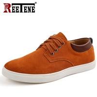 REETENE 2018 New Canvas Shoes Men High Quality Pu Leather Suede Shoes Mens Comfortable Men Flats Shoes Casual Shoes Men 38 49