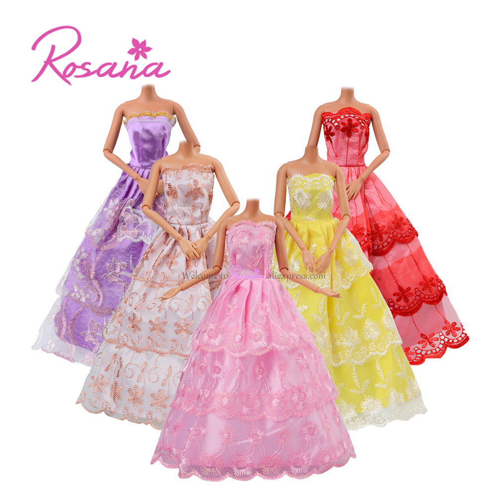 Rosana 5 Quality Handmade Wedding Dresses Gown for Barbie Doll Evening Party Dress Up Beautiful Clothes Outfit Dolls Accessories doll wedding dress 100% handmade warm red luxury crystal bride wedding doll big trailing evening gown for barbie doll