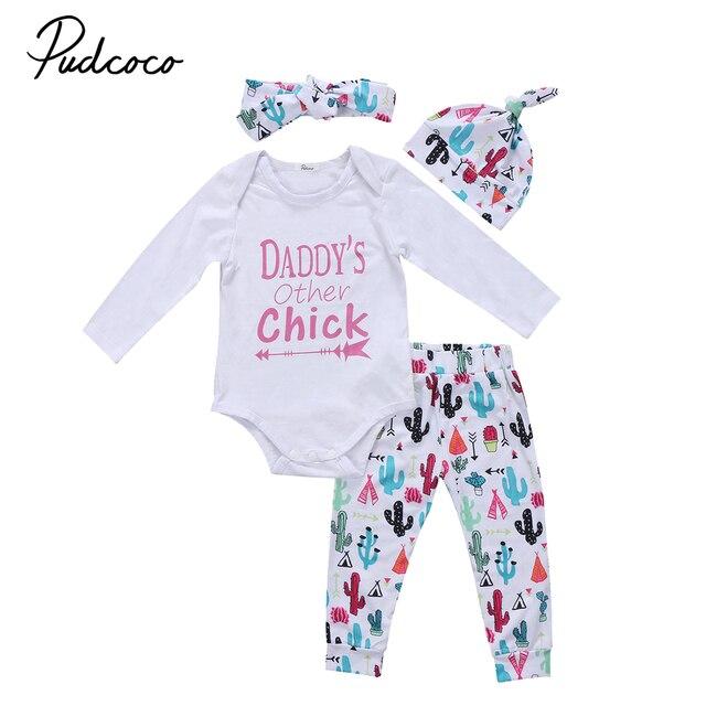 63a3db14d 4pcs Toddler Baby Girl DADDYS Clothes Newborn Jumpsuit Romper Bodysuit+ cactus Pants+hat+