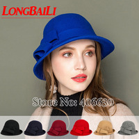 Winter Wool Felt Bucket Hats For Women Chapeu Fedoras Girls Bowler Caps Female Free Shipping SDDW089
