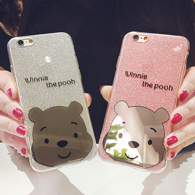 Glitter Powder plating bear Soft TPU phone Case For iPhone 8 6s 7 plus Ultra Slim bling Shinning cartoon winnie pooh Back Cover