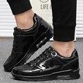 Invierno de Los Hombres Casual Zapatos de Deporte Air Caminar Trotar Zapatos de Cuero Unisex Trainers Cesta Superstar Zapatillas de Oro Botas de Piel Negro