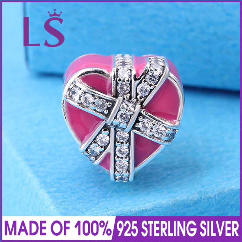 LS High Quality Real 925 Silver Gifts of Love Magent Charms Bead Fit Original Bracelets Pulseira Encantos.100% Real Fine Jewlery