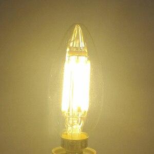 Image 3 - E12 E14 E27 LED bougie ampoule C35 lumière 2 W/4 W/6 W 110 V/220 V blanc chaud/froid rétro lampe à incandescence pour lustre éclairage 360 degrés