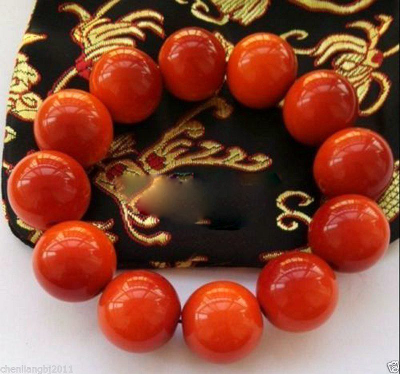 100/% Beautiful Chinese Natural Handcraft Red Jade Bracelets 20MM