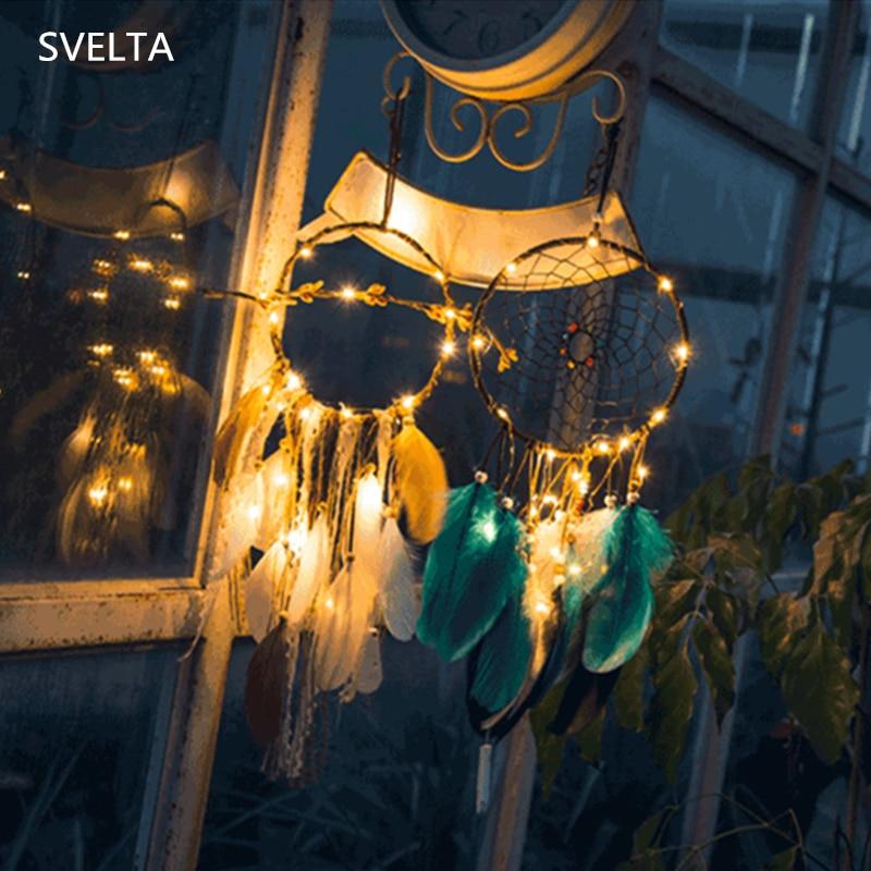 SVELTA Gerlyanda Creative Handmade Feather LED Dream Catcher Fairy Light Feathers Wall Hanging LED Night Lamp Light Home Decor ...