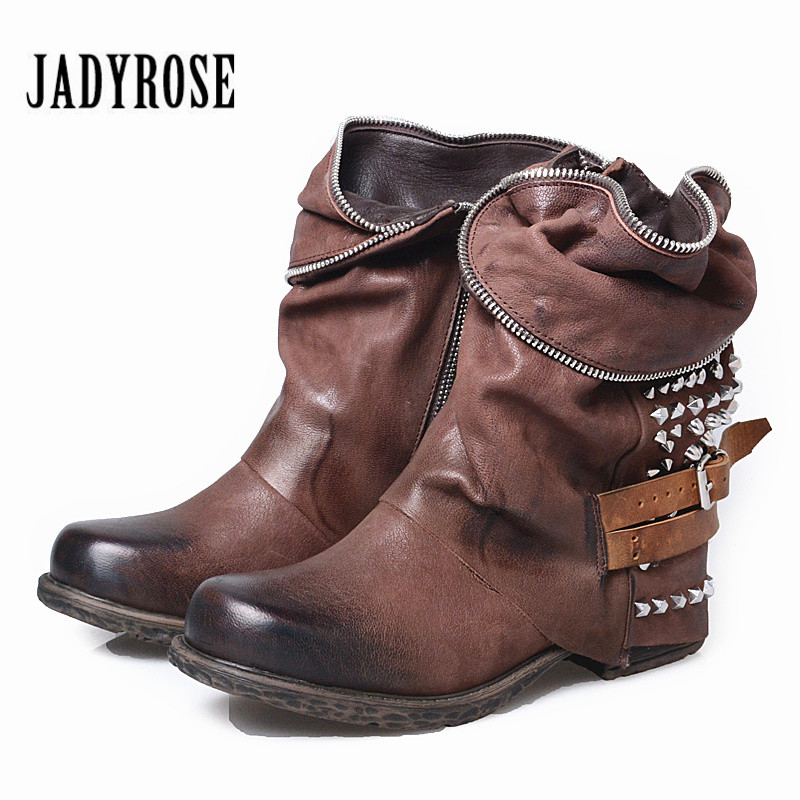 Jady Rose Full Rivets Studded Women Ankle Boots Autumn Winter Genuine Leather Martin Boots Female Platform Rubber Flat Shoes