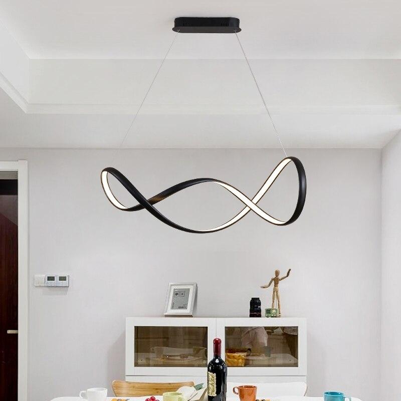 Dimmable Blanc/Noir Moderne pendentif led Lumières pour Salle À Manger Chambre Salon Suspendus Suspension Pendentif Lampe Witeh RC