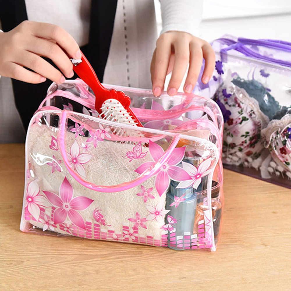 Kadın çantaları Şeffaf PVC Çiçek Su Geçirmez Makyaj Tuvalet Seyahat Yıkama kozmetik torbası Yeni kosmetik çantası neceser mujer peque o