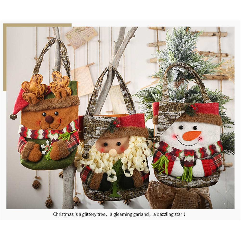 Christmas Storage Bag Santa Snowman Elk Bear Candy Apple Gift Bag Holiday Supplies New Year Favors Christmas Tree Decoration 15