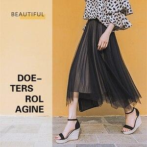 Image 3 - Sandalias de cuña de piel sintética para mujer, zapatos de tacón alto de piel sintética con punta abierta, cuñas de correa para el tobillo, color negro, talla 32 44