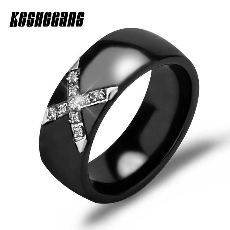 Fashion Classic Ceramic X Shape Rings Cross With Bling Rhinestone Unisex Trendy Jewelry White Black 8mm Wide For Men Women Gifts big crystal rings black white smooth ceramic rings with bling big transparent rhinestone women fashion jewelry rings for women