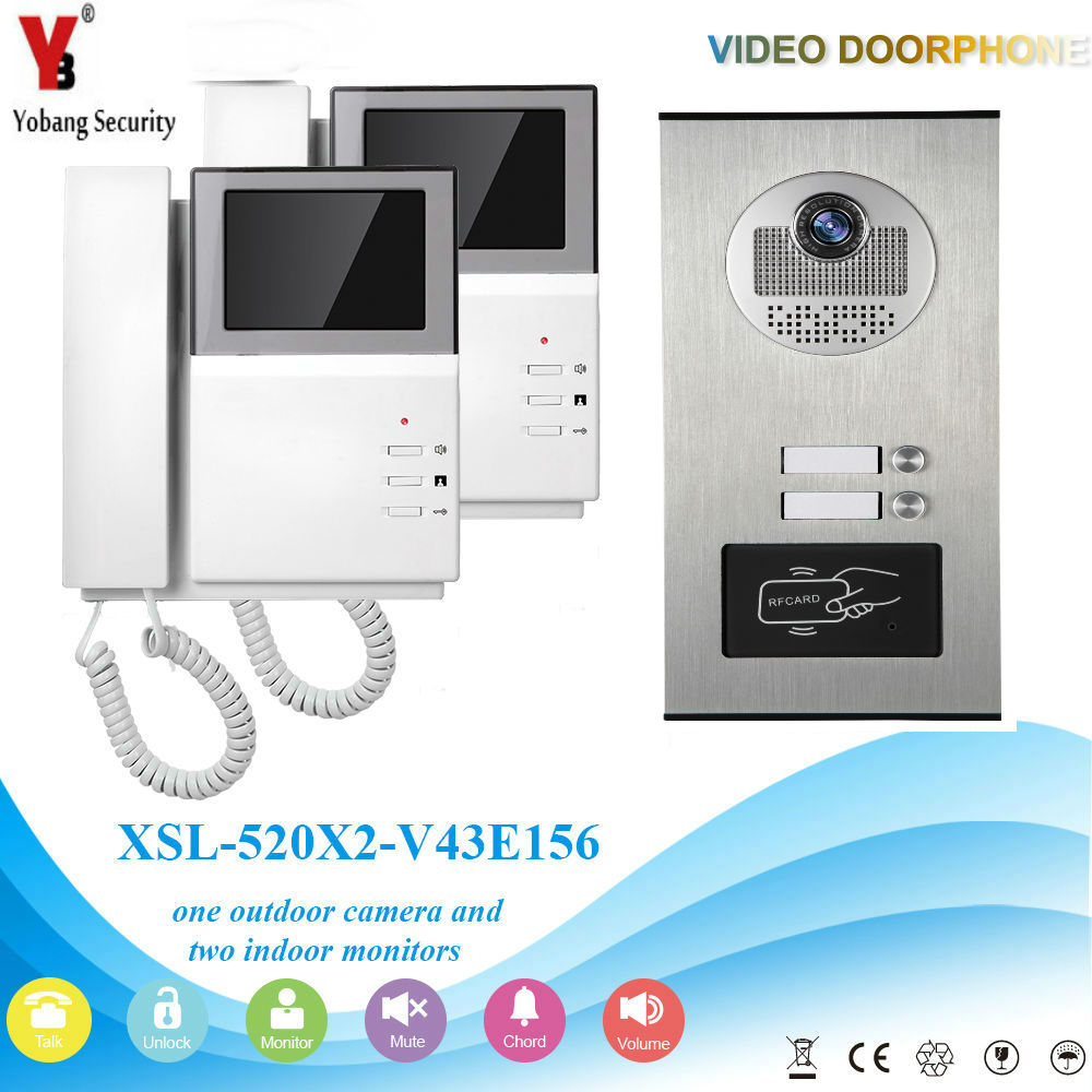 YobangSecurity Video Intercom 4.3 Inch Video Door Phone Doorbell Intercom System RFID Access Door Camera For 2 Unit Apartment