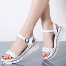 MIUBU 2019 Women Sandals Summer Genuine Leather Thick Heel Wedge Platform Ladies Ankle Strap Flat Shoes Woman