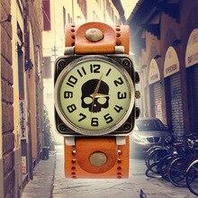 MJARTORIA Vintage Punk Skull Watches Women Men Watch Clock Antique Bronze Tone Quartz-Watch Retro Leather Sport Watch Wristwatch
