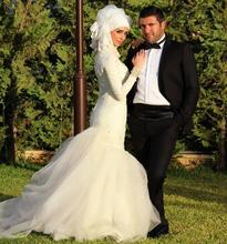 muslim hijab wedding dress 2017 long sleeve Mermaid Sweetheart Pearls zipper back vestido de noiva 2016 Bridal Gowns Dresses