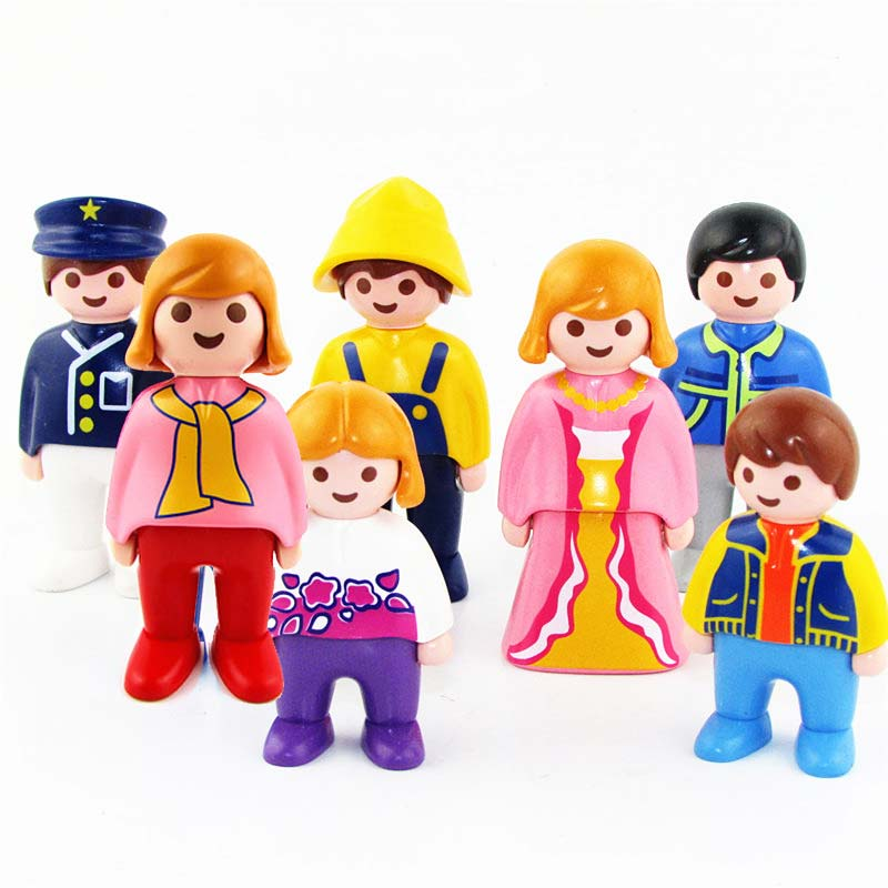 Hot Sales Playmobil Germany Toys DIY 7pcs Figures Women Men Kids Boy Girl Children's Toys Kids Birthday Gifts Collection