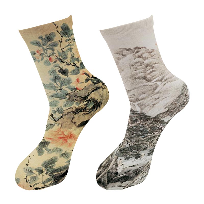 New 3D Printed Chinese Ink Painting Crew Socks Men Street Trend World Famous Landscape Painting Long Socks Men's Dress Tube Sock