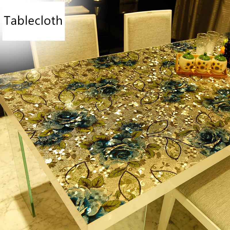 European luxury pvc colorful printed soft glass crystal plate Plastic table cloth waterproof coffee table mat party table in Tablecloths from Home Garden