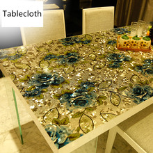 European luxury pvc colorful printed soft glass crystal plate Plastic table cloth waterproof coffee table mat party table colorful balloons print waterproof table cloth