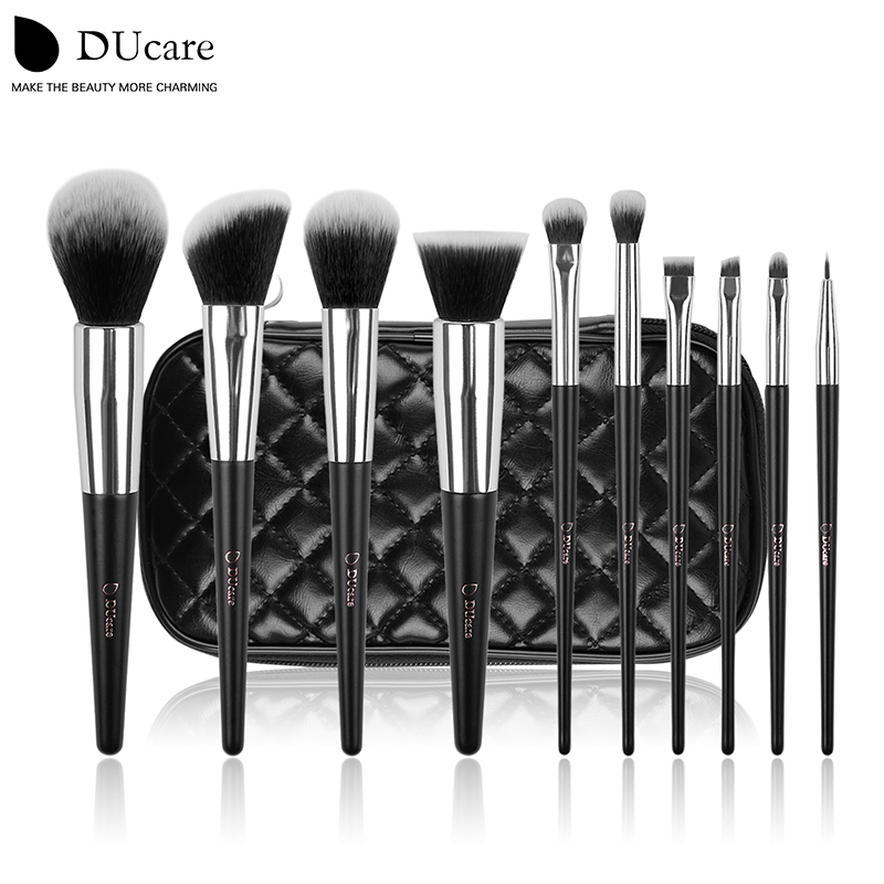 DUcare make up brushes 10pcs professional brand makeup brushes high quality brush set with black bag