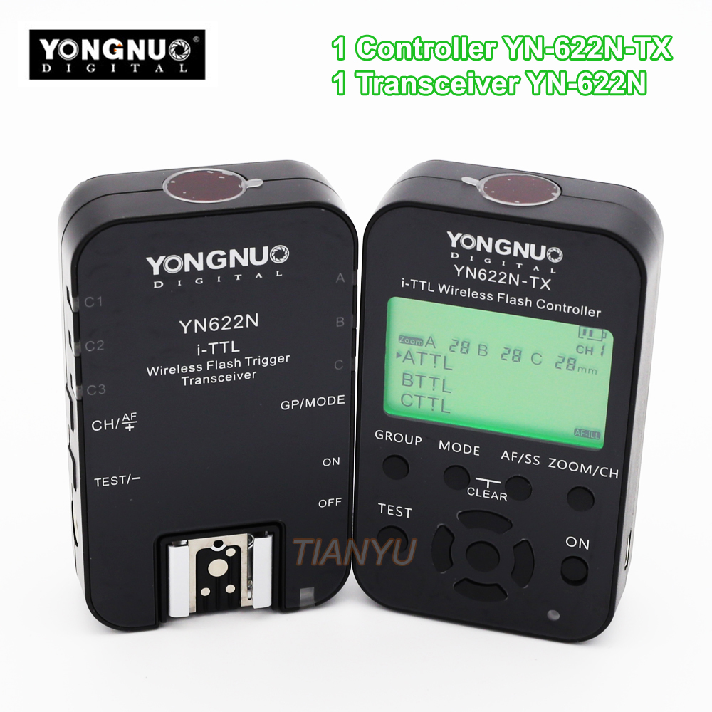 купить YONGNUO YN622N-TX Controller + YN-622N Transceiver YN622N-KIT Wireless TTL HSS Flash Trigger Set For Nikon and YN586EX YN685N по цене 6255.77 рублей