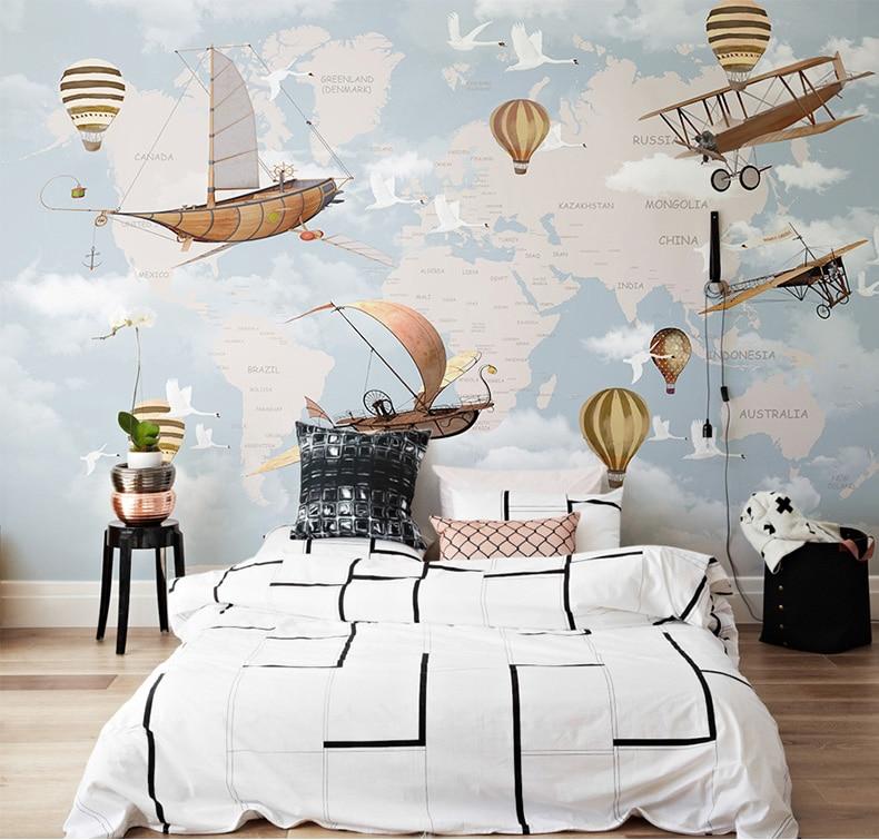 Large World Map Aircraft Hot Air Balloon 3D Cartoon Wallpaper Murals 3d Photo Mural For Baby Room 3d Cartoon Wall Paper Stickers