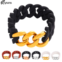 Top Quality Unisex Silicone Rubber Band Chain Bracelet Men Stainless Steel 18K Real Gold Plated Flexible