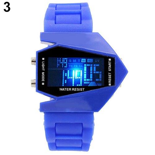 Fashion Top Brand Luxury Cool Men's Oversized Design Light Digital Sports Plan Shaped Dial Wrist Watch 3