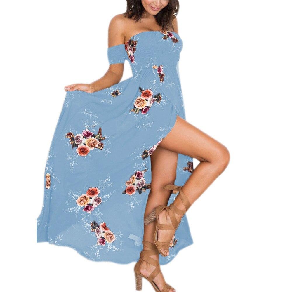 Fashion Women Dress Large Size Boho Off Shoulder Floral Ladies Long Maxi