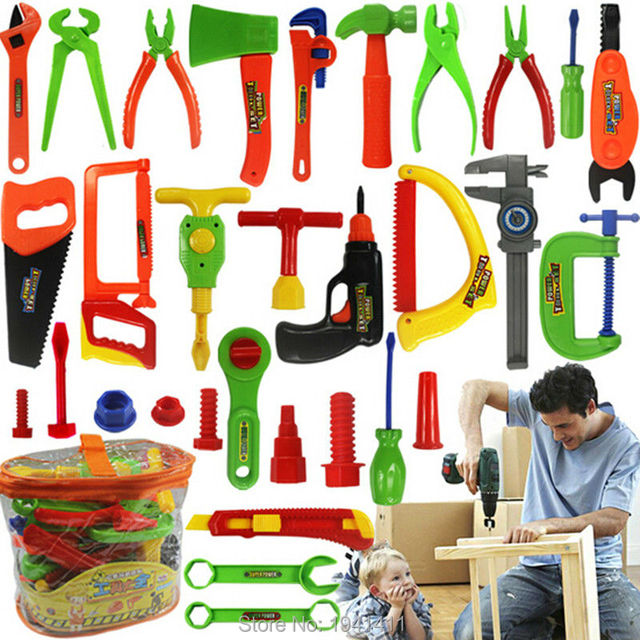 98abb967accd 34pcs Baby educational toys Tool Kit children play house classic plastic toy  kids tools hammer toolbox