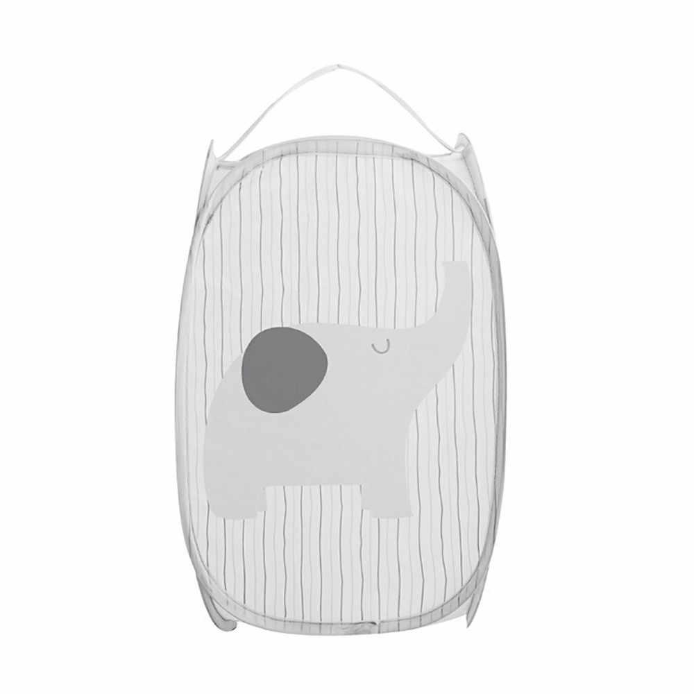 Dos desenhos animados Dobrável Pop Up Lavar Cesta de Lavanderia Saco Hamper Armazenamento De Malha