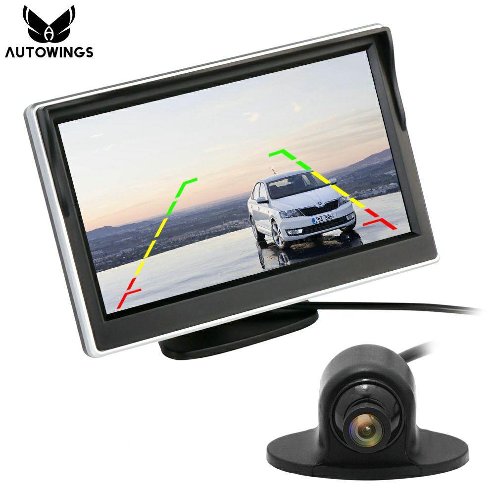 Prix pour 2 en 1 5 Pouce HD 800*480 Numérique TFT LCD De Voiture moniteur Vue Arrière Mini Caméra de Recul Moniteur De Voiture Aide Au Stationnement De Secours VCD/DVD