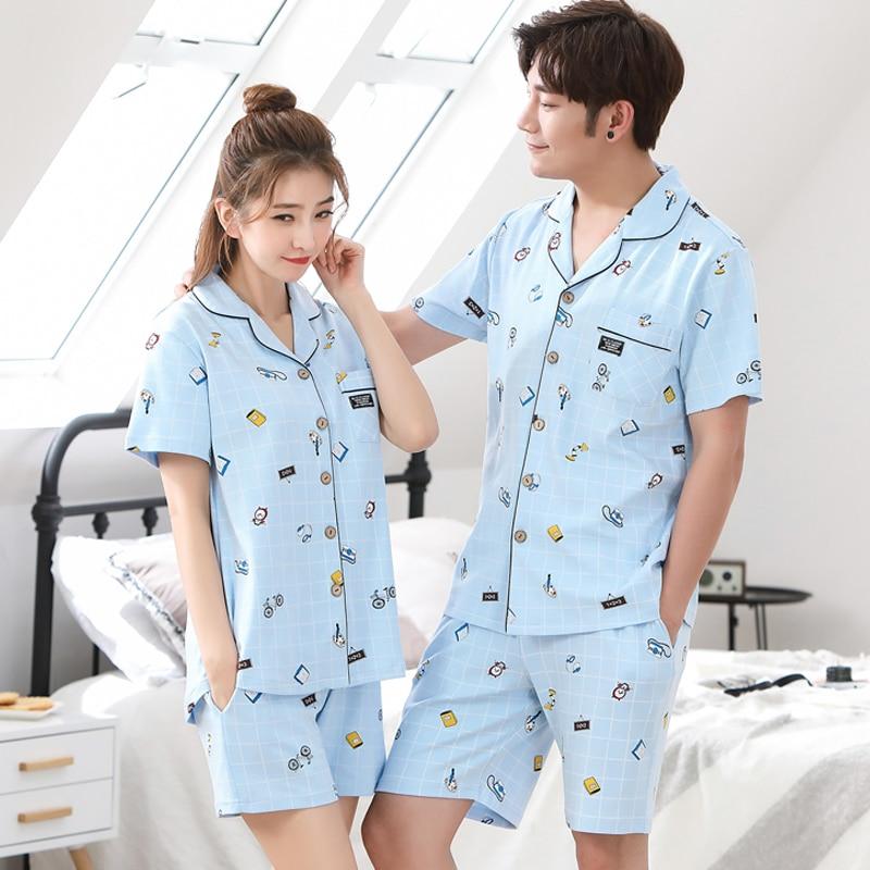 Couple Pajama Sets Women Cotton Light Blue Top + Print Pant Pajamas Men Pijama Leisure Shorts Sleepwear Pyjama Two Piece Set