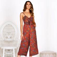 Women jumpsuit Summer 2019 Casual Loose printing jumpsuits Fashion nova woman Wide legs Strape rompers womens
