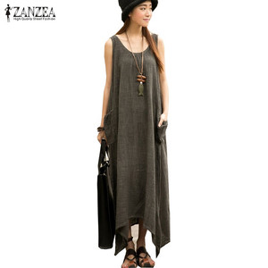 Newest ZANZEA 2019 Summer Women Casual Loose Sleeveless Vintage Long Maxi Dress Irregular Party Dresses Vestidos