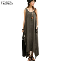 Newest ZANZEA 2016 Summer Women Casual Loose Sleeveless Vintage Long Maxi Dress Irregular Party Dresses Vestidos