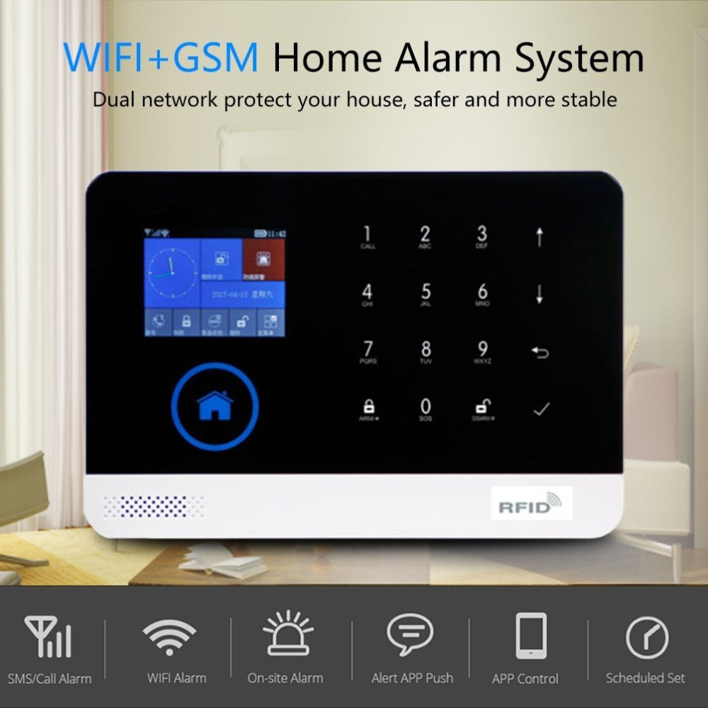 LESHP 2G WIFI GSM GPRS Switchable RFID Card Wireless Home Security Disarm Alarm System APP Remote Control marlboze wireless home security gsm wifi gprs alarm system ios android app remote control rfid card pir sensor door sensor kit