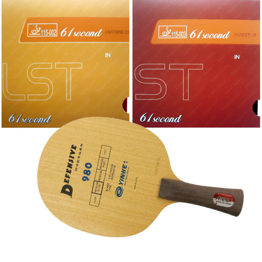 цена на Pro Table Tennis Ping Pong Combo Paddle Racket Yinhe Defensive 980 + 61second DS LST and LM ST shakehand Long Handle FL