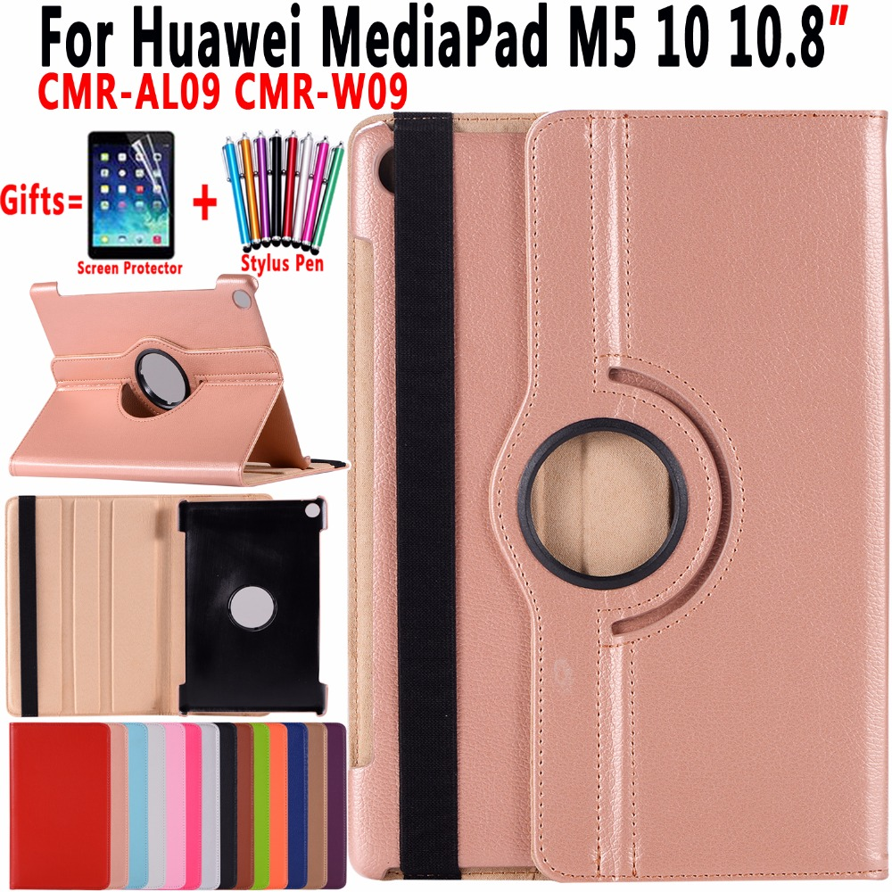360 Rotatable Leather Cover For Huawei Mediapad M5 10 10.8 Inch CMR-AL09 CMR-W09 Flip Cover For Huawei Mediapad M5 10 Pro Case